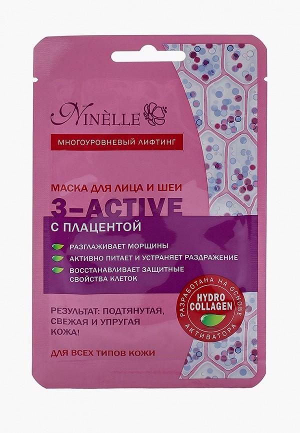 Купить Маска для лица Ninelle, и шеи 3-ACTIVE с плацентой для всех типов кожи, NI025LWUWX37, Осень-зима 2018/2019