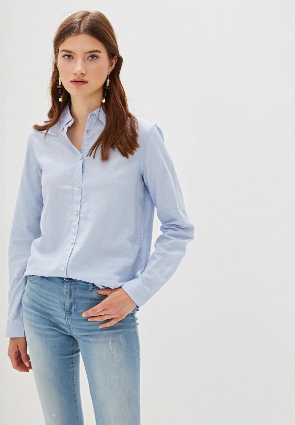 женская рубашка с длинным рукавом nice & chic, голубая