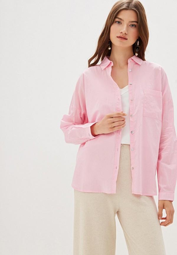женская рубашка с длинным рукавом nice & chic, розовая