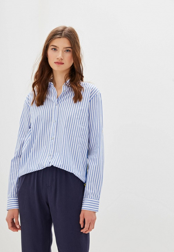 женская рубашка с длинным рукавом nice & chic, синяя