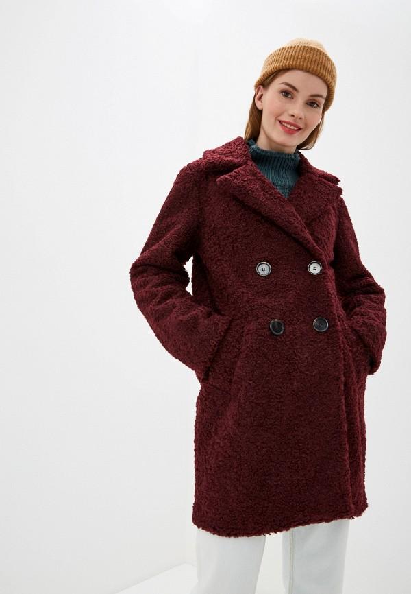 женское пальто nice & chic, бордовое