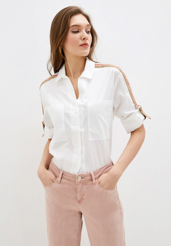 женская рубашка с длинным рукавом nice & chic, белая