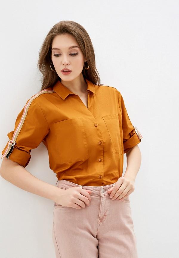 женская рубашка с длинным рукавом nice & chic, коричневая