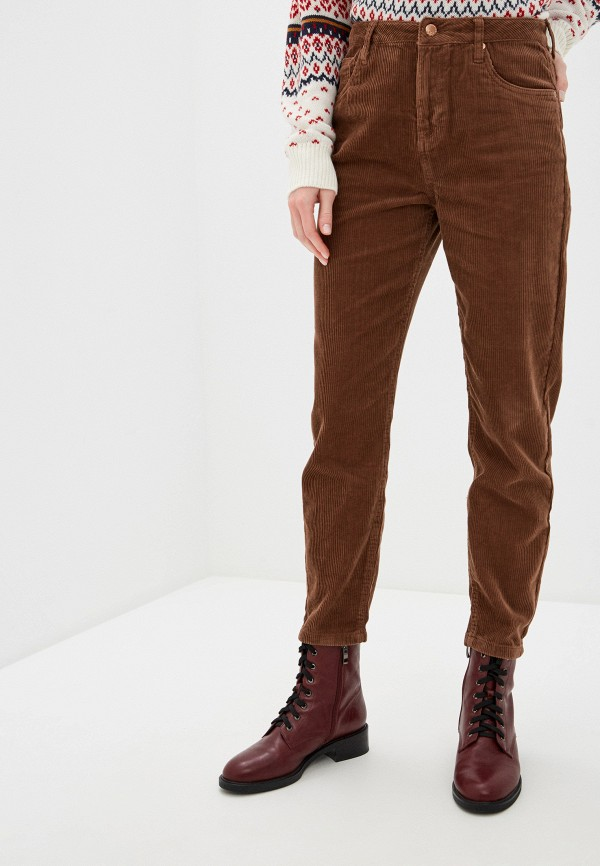 женские прямые брюки nice & chic, коричневые
