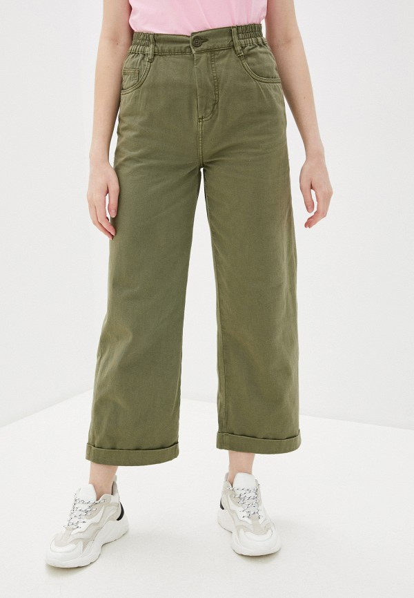 женские брюки клеш nice & chic, хаки
