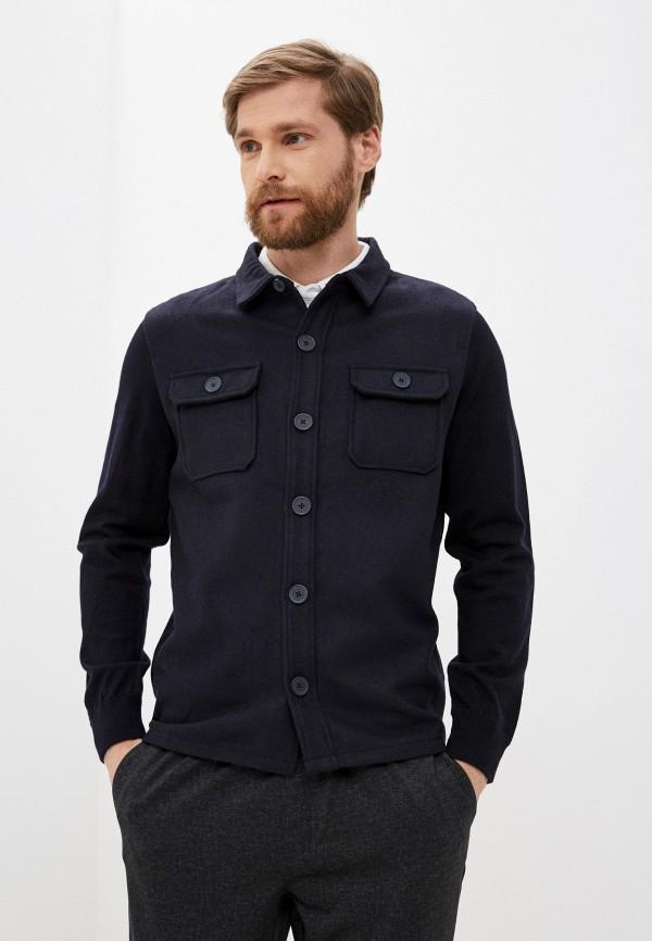 мужская рубашка с длинным рукавом nines collection, синяя