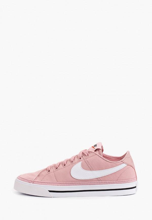 женские низкие кеды nike, розовые