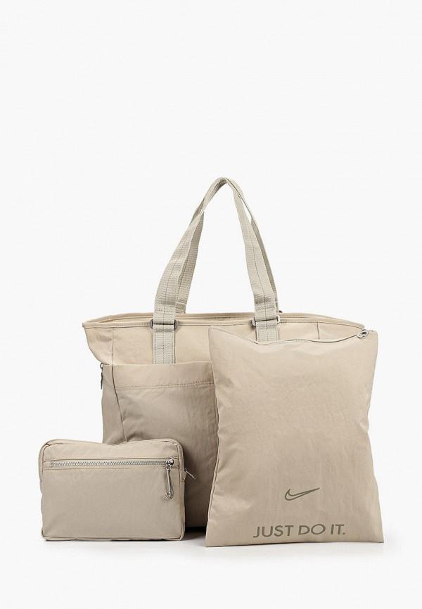 женская спортивные сумка nike, бежевая