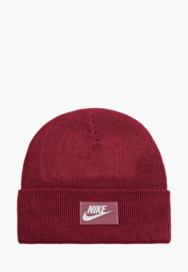 женская шапка nike, бордовая
