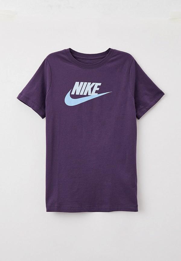 футболка с коротким рукавом nike для мальчика, фиолетовая