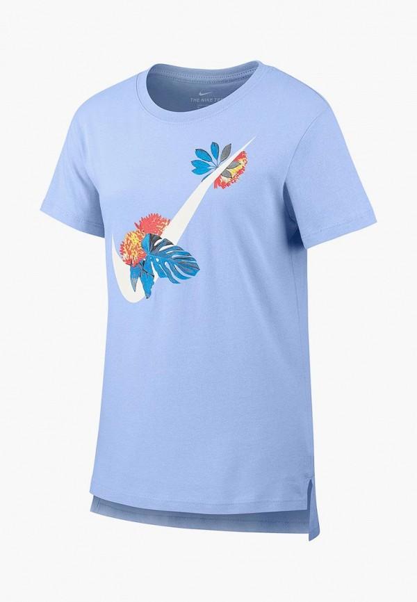 футболка nike для девочки, голубая