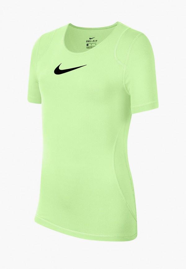 футболка nike для девочки, зеленая