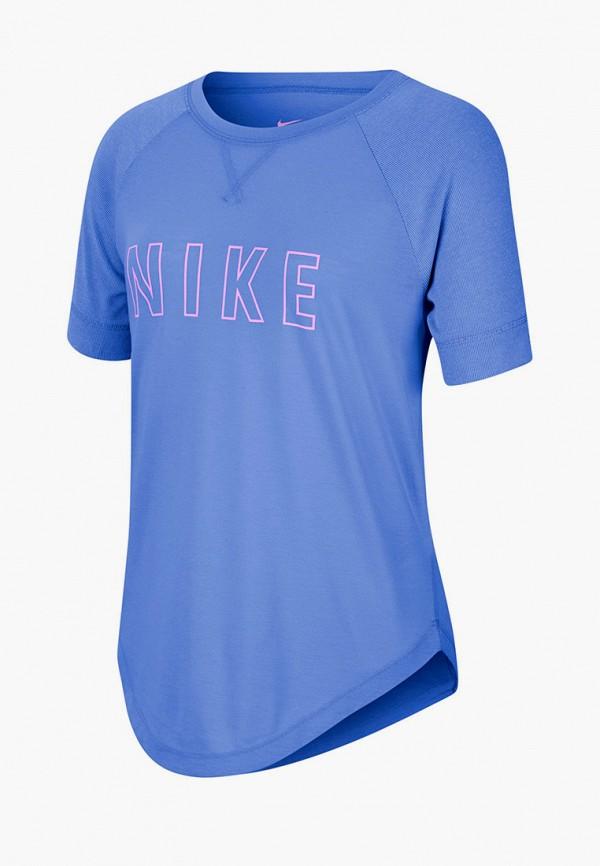 футболка с коротким рукавом nike для девочки, синяя
