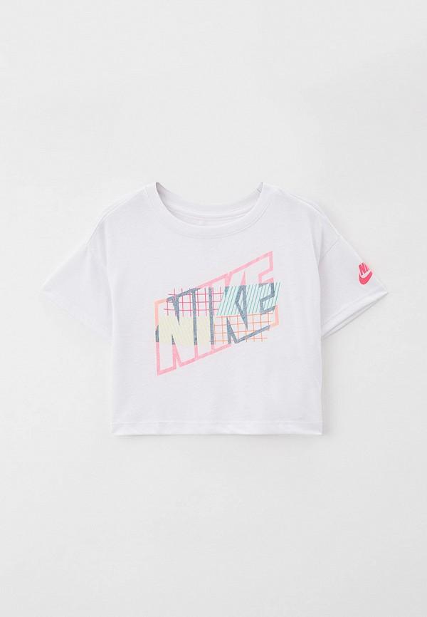 футболка с коротким рукавом nike для девочки, белая