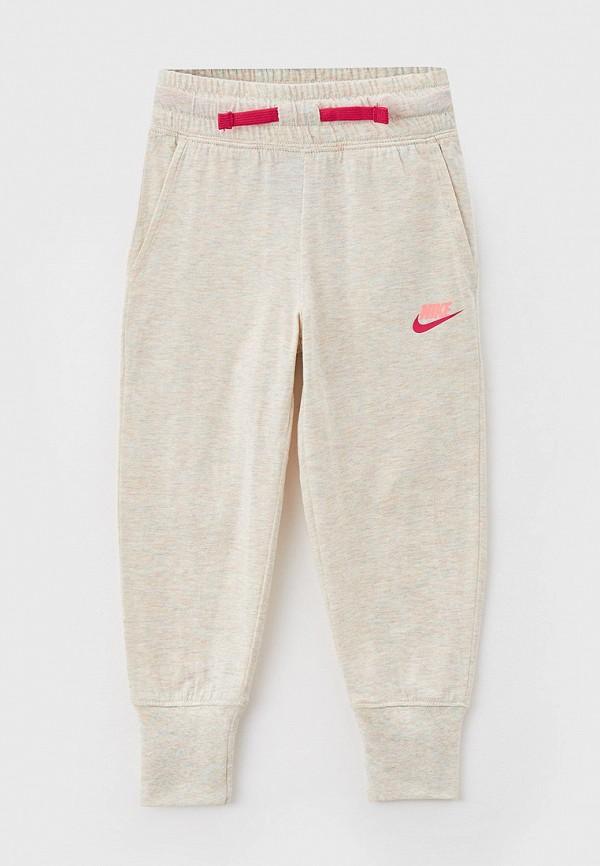 спортивные брюки nike для девочки, бежевые