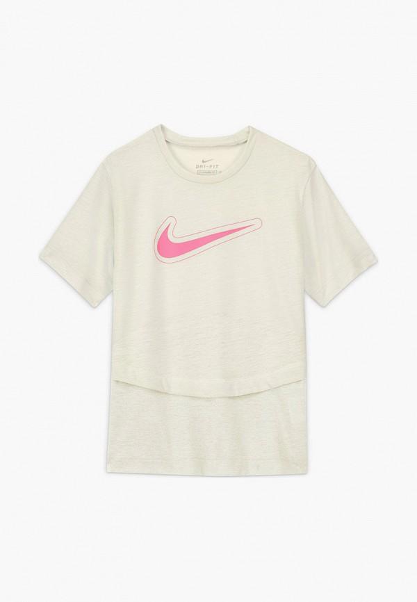 футболка nike для девочки, бежевая