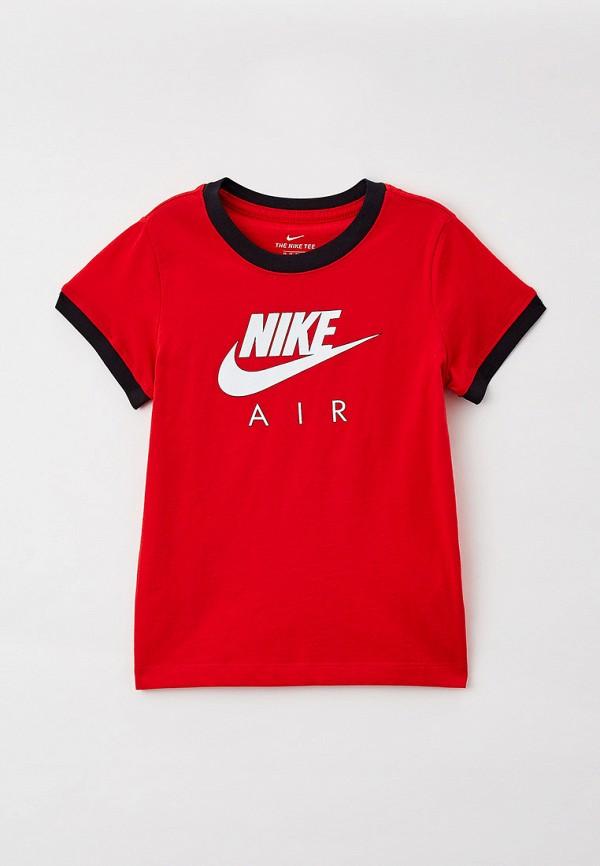 футболка с коротким рукавом nike для девочки, красная