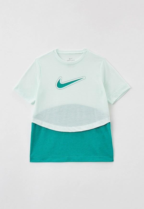 футболка с коротким рукавом nike для девочки, бирюзовая