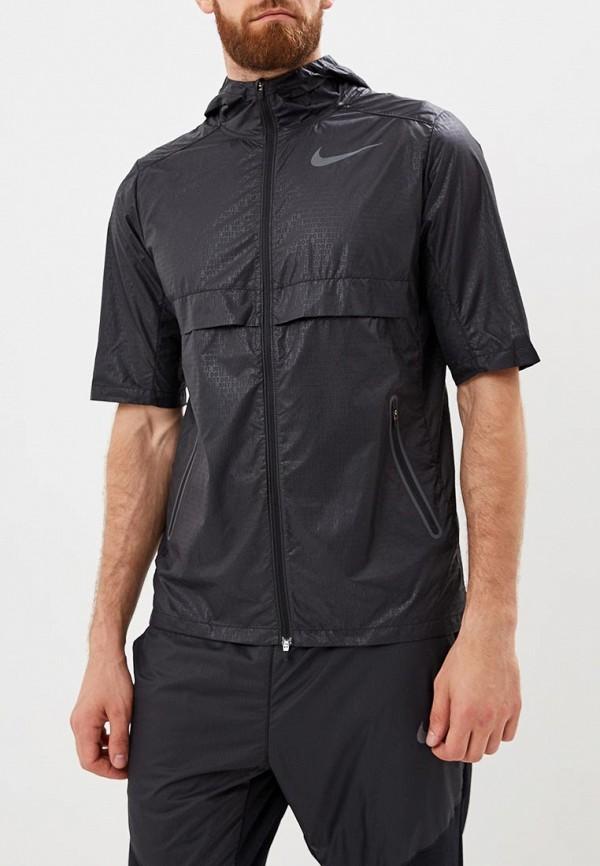 Купить Ветровка Nike, Nike Short-Sleeve Men's Running Jacket, ni464embwhy9, черный, Осень-зима 2018/2019