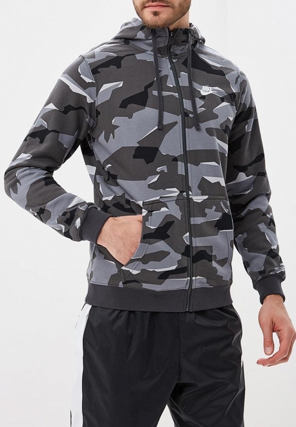 Фото 5 - мужскую толстовку Nike серого цвета