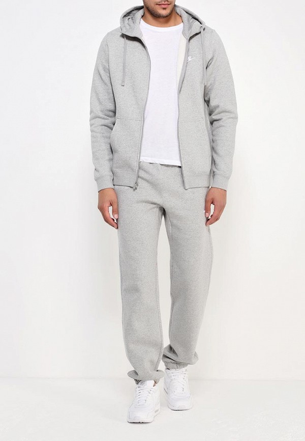 Фото 2 - мужскую толстовку Nike серого цвета