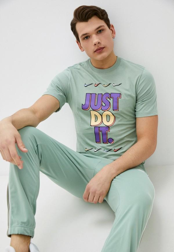 мужская спортивные футболка nike, зеленая