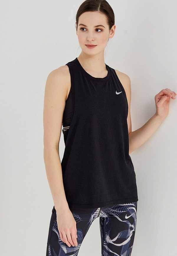 Майка спортивная Nike, Women's Nike Tailwind Running Tank, ni464ewaaet7, черный, Весна-лето 2018  - купить со скидкой