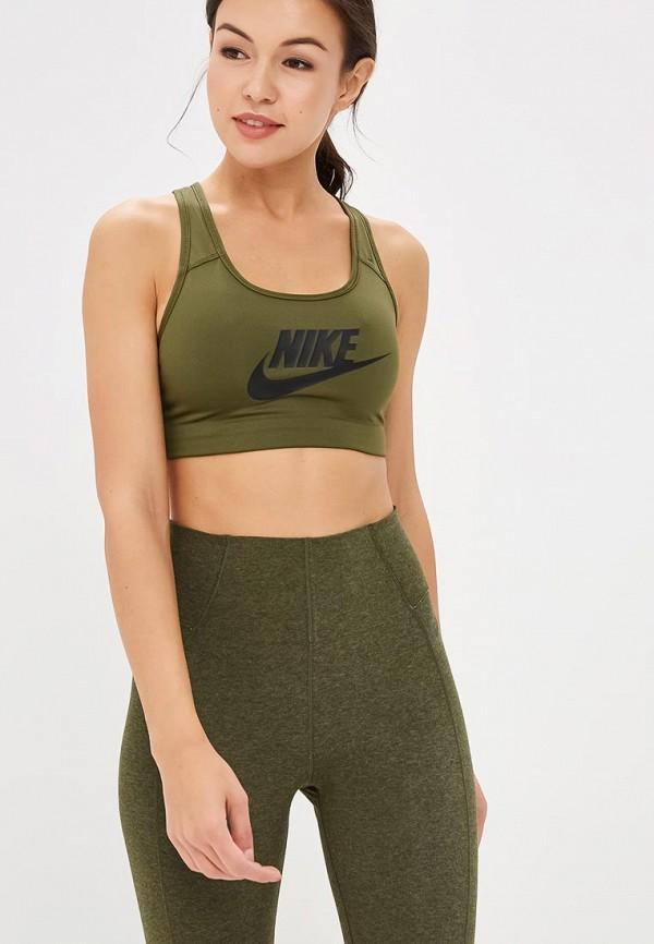 Купить Топ спортивный Nike, NIKE SWOOSH FUTURA BRA, ni464ewcmko1, хаки, Осень-зима 2018/2019