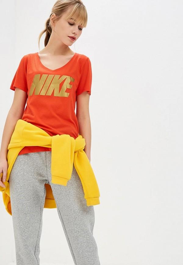 женская футболка nike, красная
