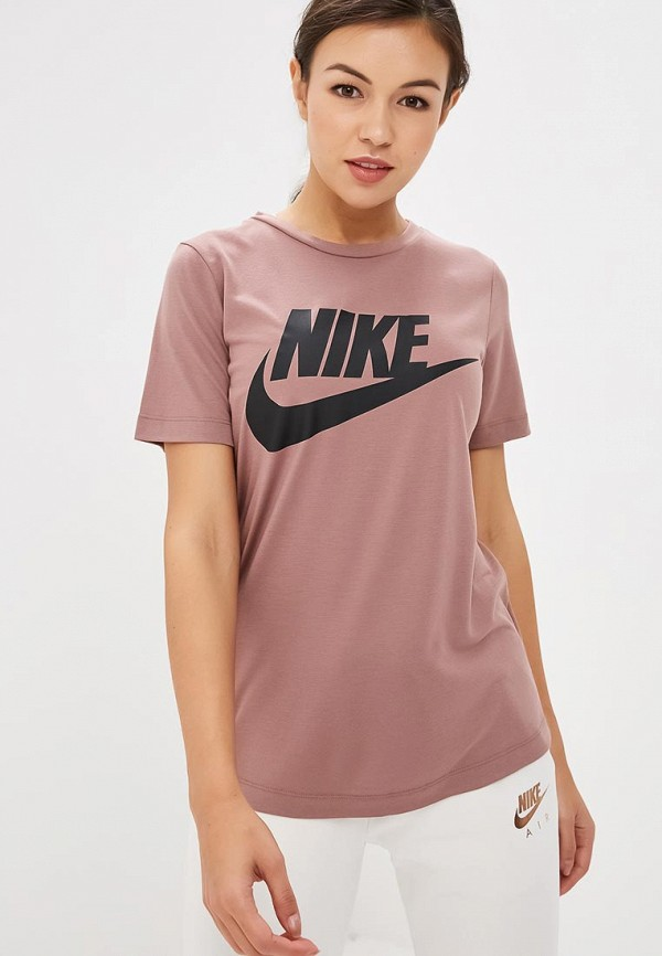 Купить Футболка спортивная Nike, W NSW ESSNTL TOP HBR, NI464EWCTAG7, розовый, Осень-зима 2018/2019