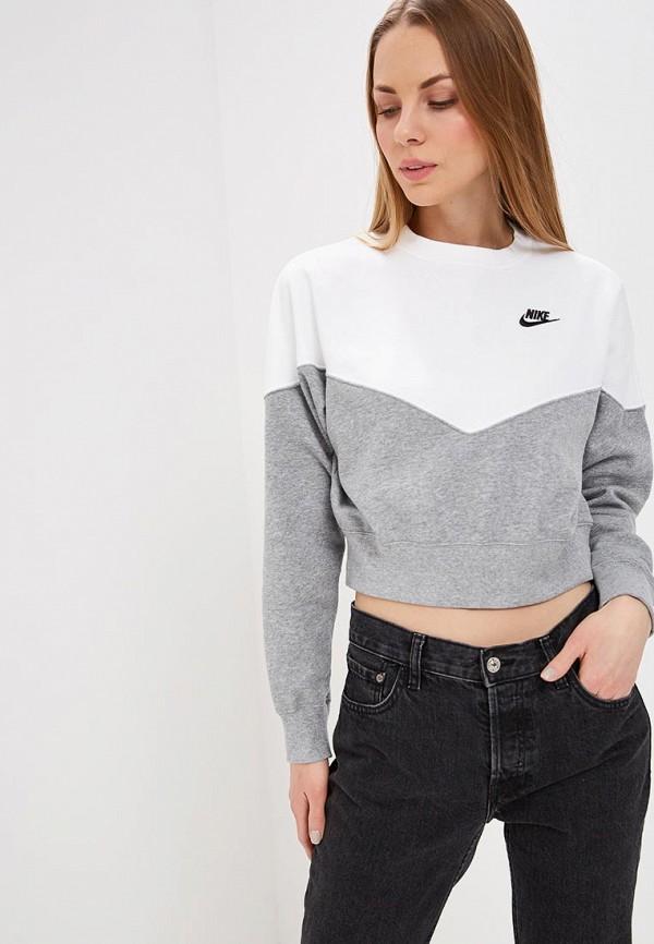 Купить Свитшот Nike, W NSW HRTG CREW FLC, ni464ewdnmk2, серый, Весна-лето 2019