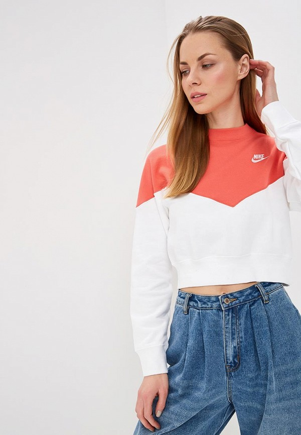 Купить Свитшот Nike, W NSW HRTG CREW FLC, ni464ewdnmk3, оранжевый, Весна-лето 2019