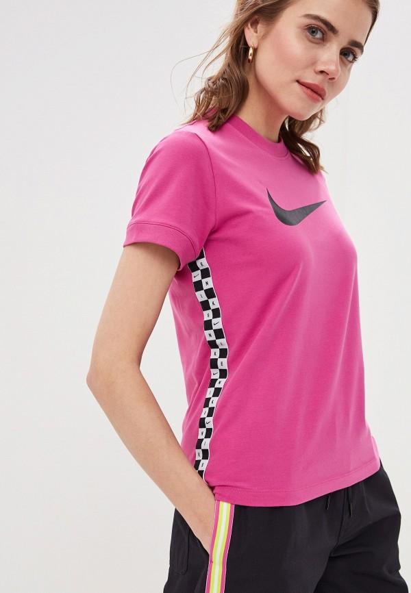 Фото 4 - Женскую футболку Nike розового цвета