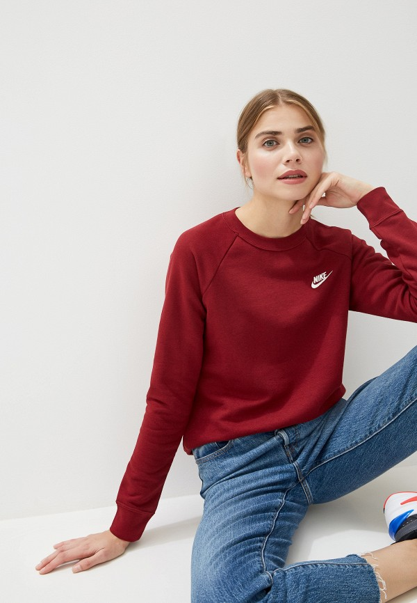 женский спортивные свитшот nike, бордовый