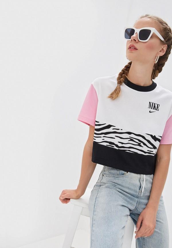 женская спортивные футболка nike, белая