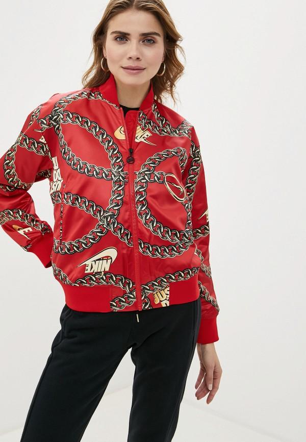 женская куртка nike, красная