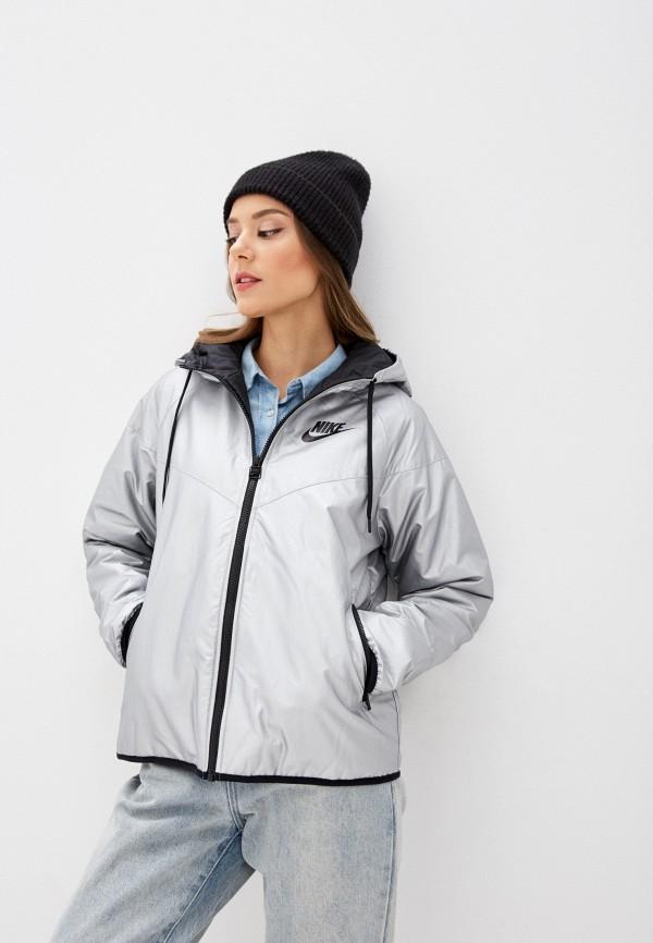 женская куртка nike, серебряная