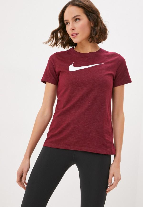 женская спортивные футболка nike, бордовая