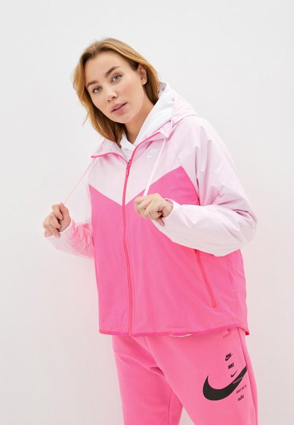 женская ветровка nike, розовая