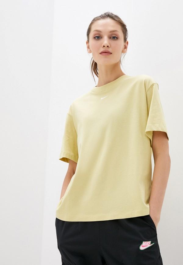 женская спортивные футболка nike, зеленая