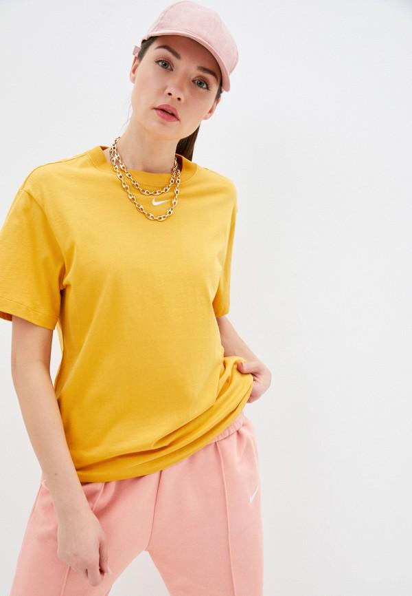 женская спортивные футболка nike, желтая