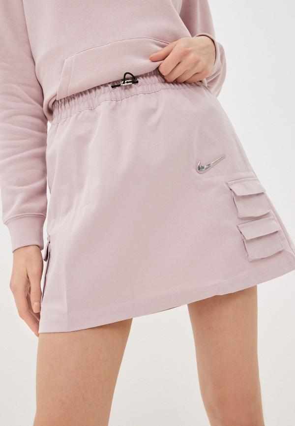 женская юбка-трапеции nike, розовая