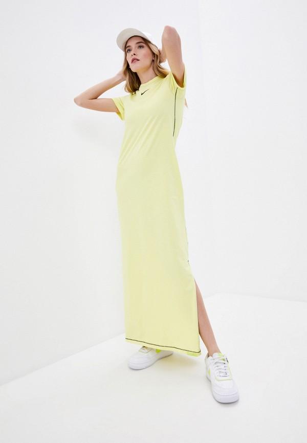 женское спортивные платье nike, желтое