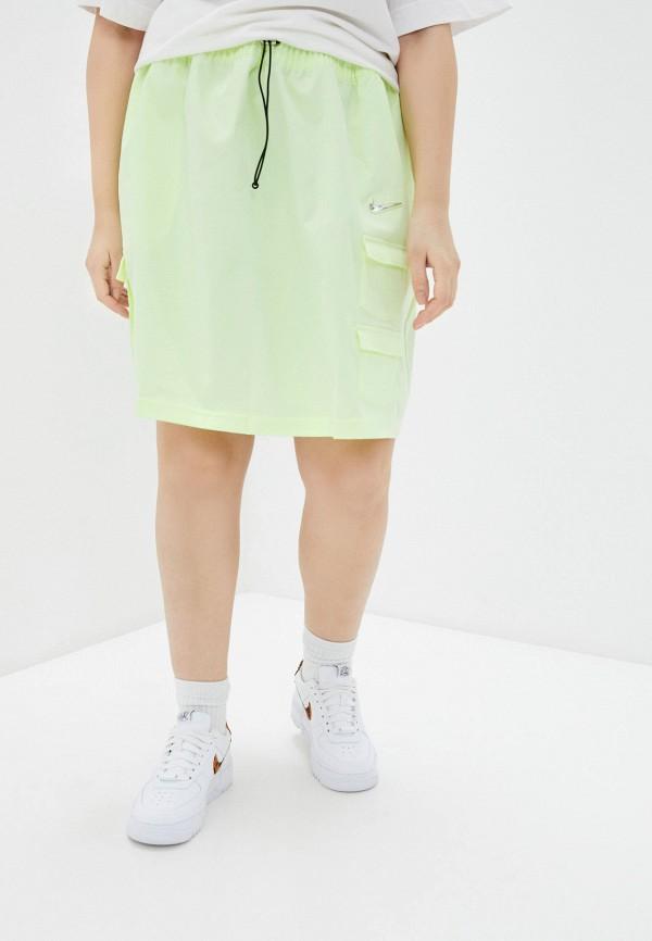 женская прямые юбка nike, желтая