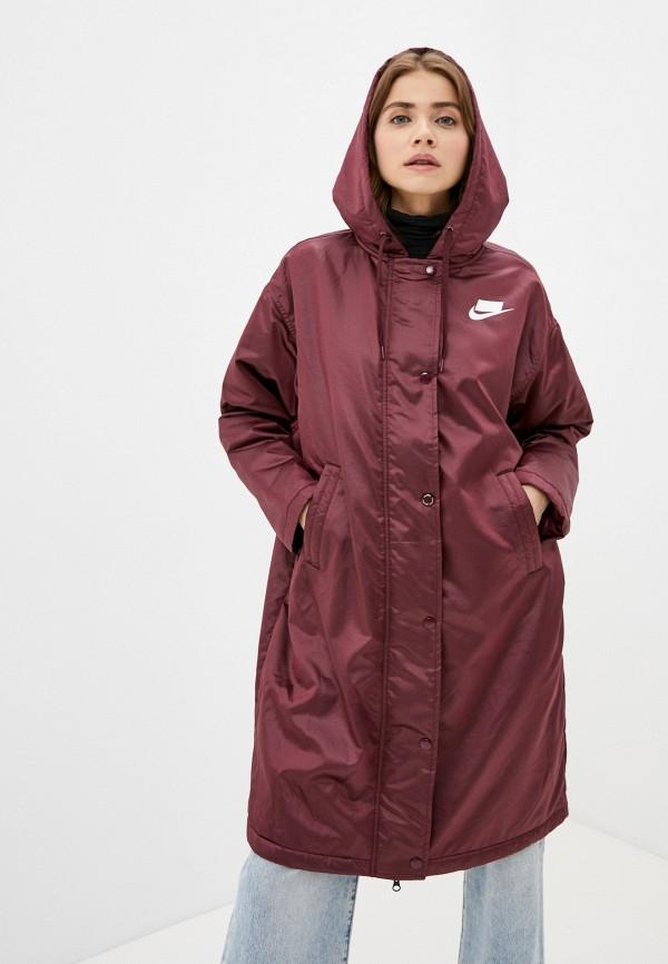 женская куртка nike, бордовая