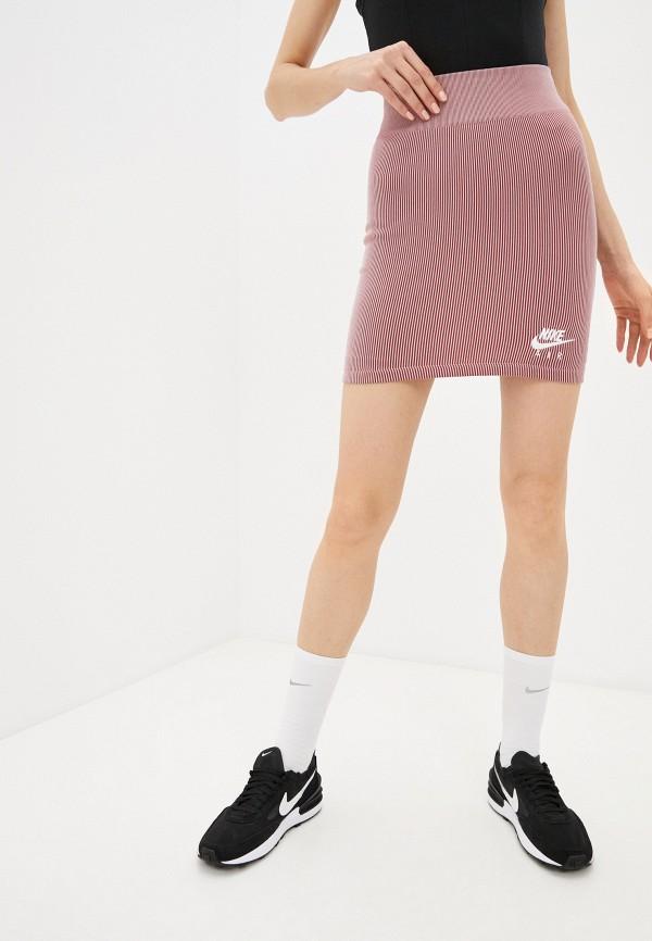 женская прямые юбка nike, розовая