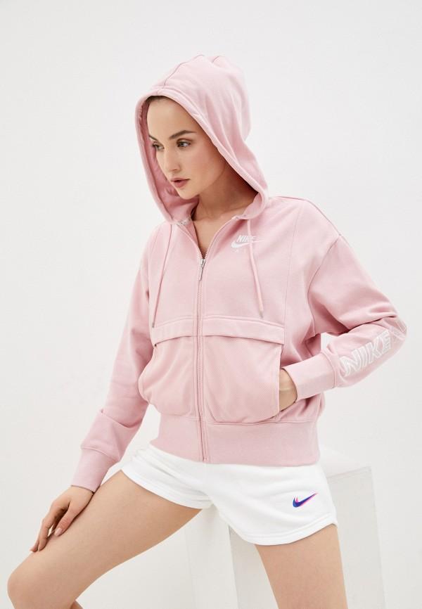 женская спортивные толстовка nike, розовая