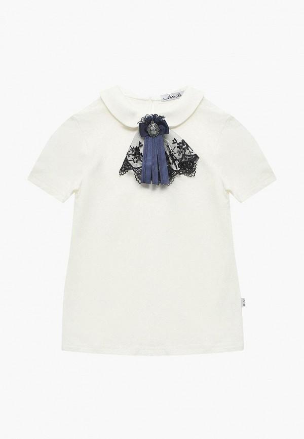 футболка с коротким рукавом nota bene для девочки, белая