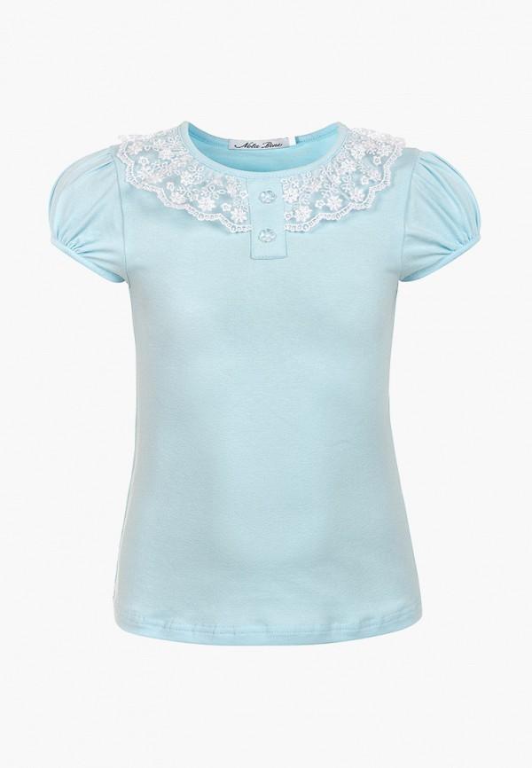 футболка nota bene для девочки, голубая
