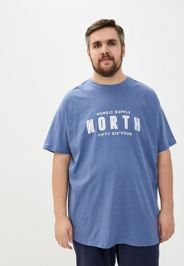 мужская футболка north 56-4, синяя